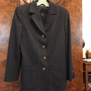 Classic charcoal blazer, size 6, by Peserico.